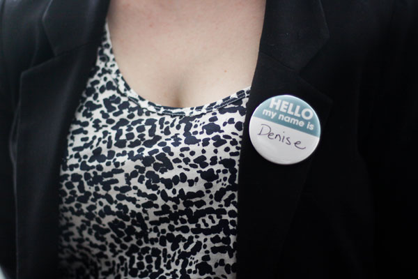 round buttons used as name tags